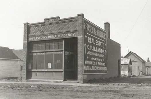 Fraser-MacDonald Building, Lacombe, ca. 1925. Source: Lacombe & District Historical Society
