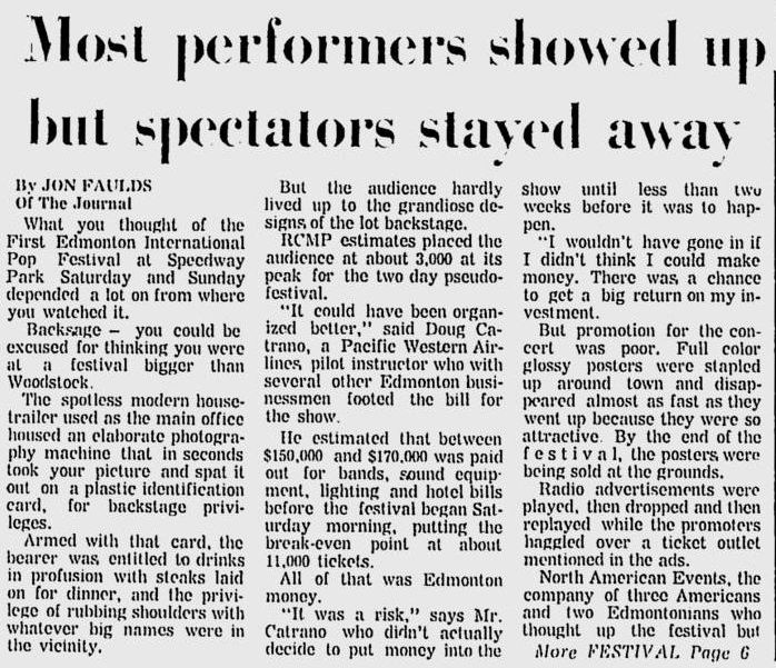 Jon Faulds' review of the pop fest. Promoters lost money due to low attendance, but it seemed like both the bands and the people who did end up going had a good time. Source: Vintage Edmonton.
