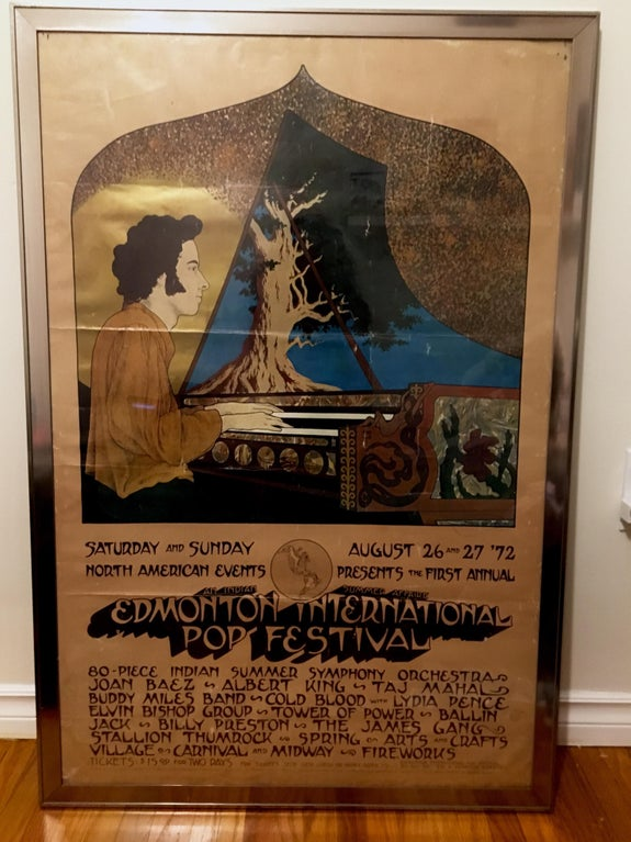 Original poster for the 1972 Edmonton International Pop Festival, by Phoenix & Arabeth. Apparently, glossy colour posters were plastered around the city only a couple weeks before the event. They were replaced almost as fast as they were stolen.