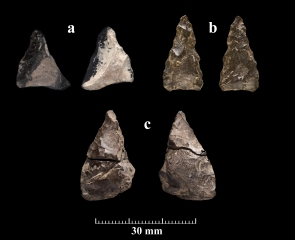Lithic drills found at the Cluny Site. If these drills were used to drill shell beads, they would have been mounted on a shaft. For each pair of images, the left image is one side of the artfiact and the right image is the other side.