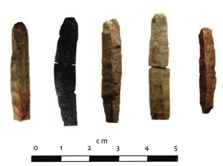 Microblades recovered from HhOv-319 at the Quarry of the Ancestors.