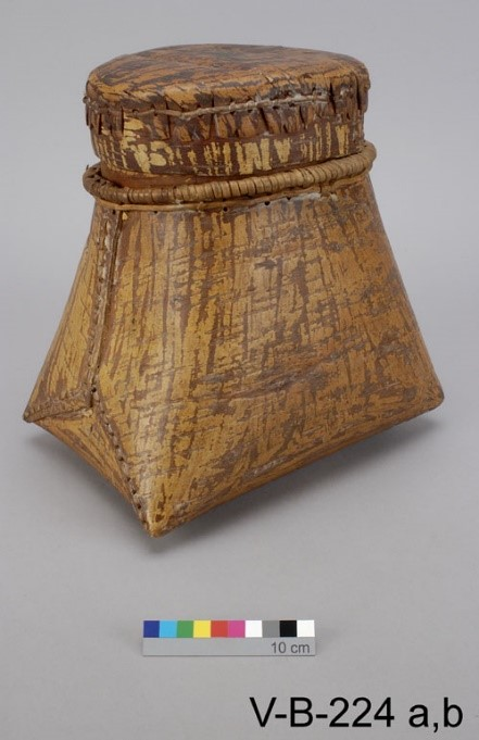 Birch bark basket sewn with split spruce roots, Siksika. Source: Canadian Museum of History.