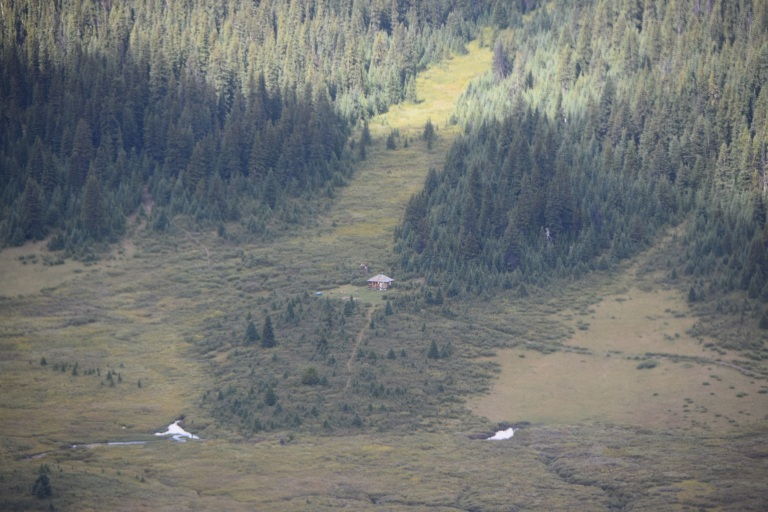Due to its remoteness, staff flew in by helicopter and spent a few hours photographing and documenting the cabin for the Alberta Heritage Survey.