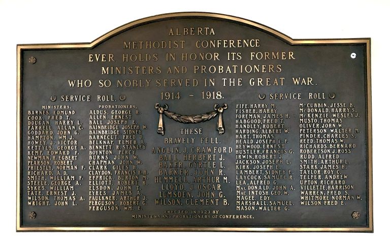 This plaque at Old St. Stephen's College honours its former ministers and probationers who served in WWI. Photo by: Peter Melnycky.