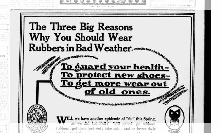 The Dominion Rubber Company was very concerned with your wet feet. Source: Peel's Prairie Provinces, University of Alberta.
