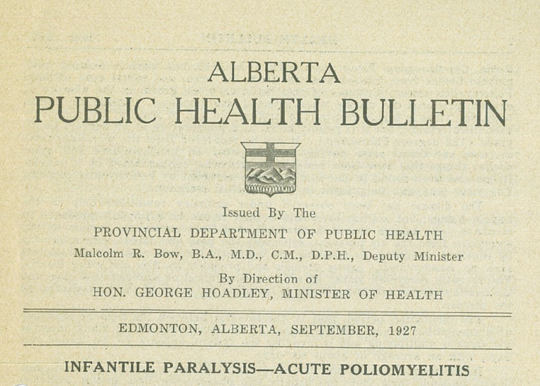(Above) Excerpt from the Alberta Public Health Bulletin, September 1927.  GR1985.0454. (Below) Department of Health - Muscle training exercises, 1928. Photo A11764.