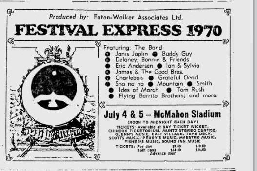 Newspaper advertisment, presumably from the Calgary Herald. Safe to say this is a pretty stacked lineup. Source: gratefulseconds.com.
